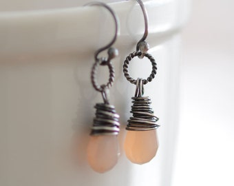 Peach Moonstone Earrings Oxidized Sterling Silver Wire Wrapped Earrings Moonstone Gemstone Jewelry