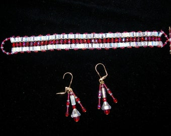 Double Cube Red and White Bracelet and Earring Set