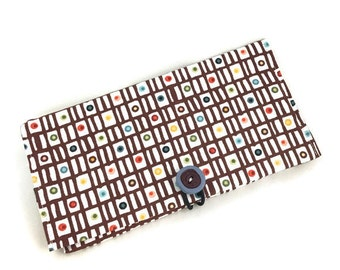 Check wallet check cover  with button closure and colorful fabric