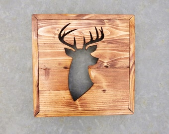 Rustic Reclaimed Wood Buck Head Silhouette / Deer Head Wood Cutout / Custom Home Decor / Country Southern Home Decor