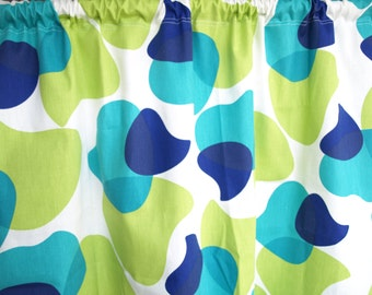 Curtain panel White Blue green Abstract Modern Decor Cafe curtain Kitchen valance , also runner , napkins available, great GIFT