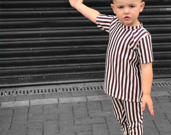 Burgundy stripe leggings & tee set
