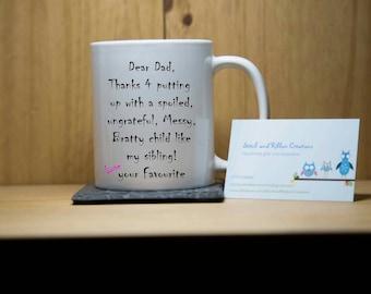 Dear Dad novelty mug.