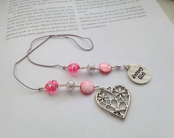 New Jersey Beaded Bookmark Girlfriend Gift-Jersey Girl Charm Silver Pink Flowered Heart Hippie Summer Shore Book Thong Reading Love NJ State