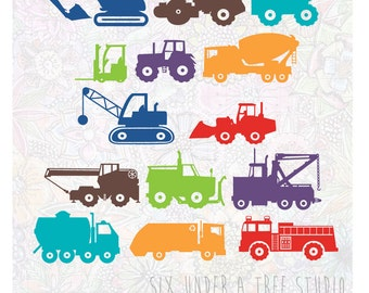 Construction Trucks Vol 1 and 2 Wall Vinyl Decals Art Graphics Stickers
