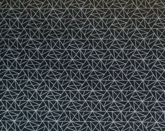 Cotton Japanese fabric - Sevenberry - triangles black - by 50 cm (110 x)