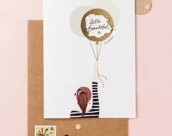Will You Be My Bridesmaid - Scratch To Reveal Card - Write Your Message - Girl With The Balloons - Ponytail Brown - Bridesmaid Proposal