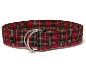 Christmas Belt / Plaid D-ring Belt Child Red Belt  / Holiday Ribbon Belt / Preppy Belt for Boys Girls Women's waist - Gifts for Kids