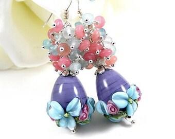 Silver925 lampwork earrings. pearls semi - precious made blue/pink-hand.