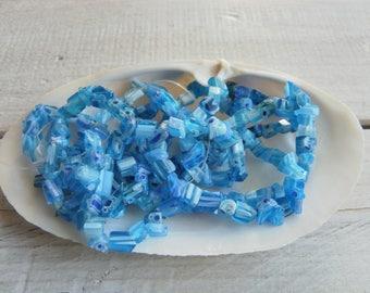 40 beads blue Millefiori glass 4-8 mm