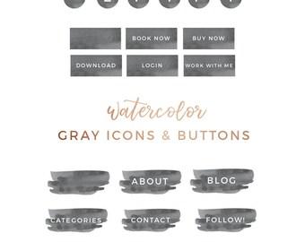 Icônes de médias sociaux aquarelle gris, boutons, étiquettes, Kit Blog, site Web, image de marque, Blog graphique, minimaliste Blogger Wordpress Squarespace