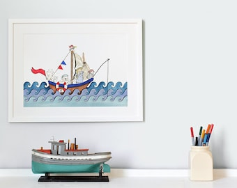 Boat at Sea, UNFRAMED Nursery Art Print, Personalised Kid's Picture, Children's Nautical room Decor, Ocean Illustration, Watercolour Print.