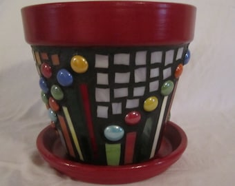 Geometric Mosaic Flower Pot, Garden Art