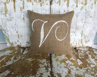 Personalized Initial Monogram Burlap Decorative Throw Accent Pillow Custom Colors Available Wedding Anniversary Gift Home Decor
