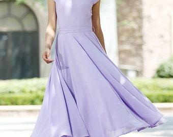 purple dress, summer dress, chiffon dress, prom dress, wedding dress, bridesmaid dress, fit and flare dress, maxi dress, handmade  (1030)