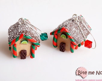 Christmas Gingerbread Houses - Miniature Food Jewelry, Dangle Earrings, Mini Sweets, Kawaii Jewelry, Black Friday Sale, Polymer Clay Charm