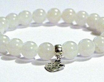 White Agate Calming Crystal Healing Gemstone Bracelet Amelie Hope Crystals Power Bead