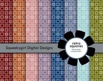 Retro Squares Digital Paper - 8 pack - 12x12 in