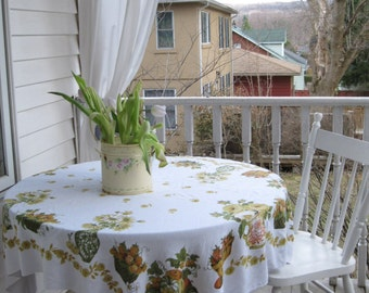 Fifties Tablecloth Roses and Fruit, Yellow Roses, Garden Party, Shabby Cottage, Rustic Home, Picnic,  by mailordervintage on etsy