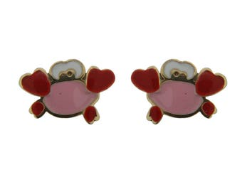 18KT Yellow Gold pink or blue Crab Screwback Earrings (5mm X 8mm)