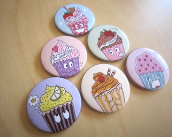 Set of 6 magnets illustrated cupcakes, kitchen magnets, refrigerator