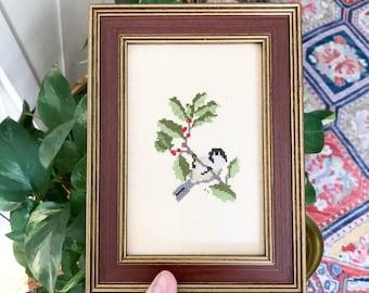 Framed Needlepoint Bird  • Yarn Art • Boho Decor
