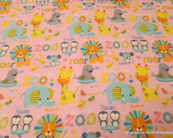 Flannel Fabric - Animals Words Pink - By the yard - 100% Cotton Flannel