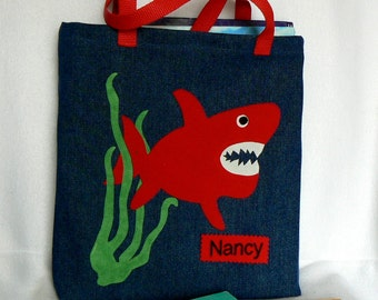 Kids Shark Tote Bag|Personalized Bag|Denim Tote Bag|Children's Book Bag|Toddler Bag|Christmas Gift Bag|Preschool Bag|Kindergarten Bag