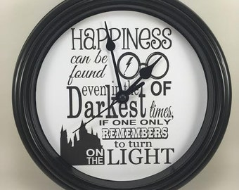 "HARRY POTTER ""Happiness Can Be Found"" Wall Clock Novelty Potterhead Gift"