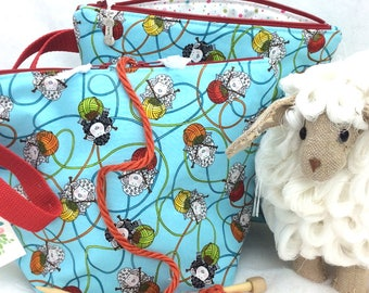 Busy Sheep Knitting bag, Knitting Project Bag, Sheep knitting Bag, Sock Project Bag,