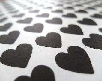 Black Heart Sticker, Mini Heart Stickers - Made to Order