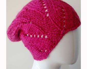 Slouch Hat, Alpaca and Silk, PINK Fuchsia, Hand Knit, Beanie, Cap, Toque, Women's Hat, Winter Hat, Made in New York, Warm Hat, Designer