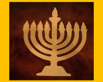Unfinished Hanukkah Menorah Mosaic Base Craft Shape 1/4 Inch Thick  10 Inches Tall