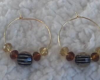 Amber/gold ear wire earrings