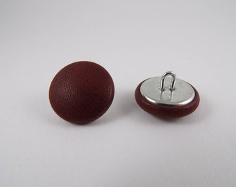 brushed Burgundy leather 20mm-6 covered buttons