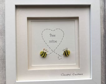 Sea glass and pebble art - bumble bee, bee mine