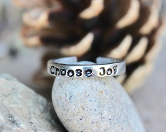 Choose Joy Mantra Ring - Adjustable Ring - Hand-Stamped - Stackable Ring - Daily Reminder to Choose Joy - Every Day Inspirational Jewelry