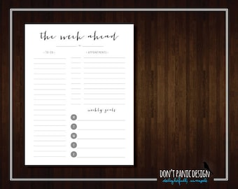 Pretty Black Printable Weekly Planner Page - Daily Planner Sheet - Grocery List Planner