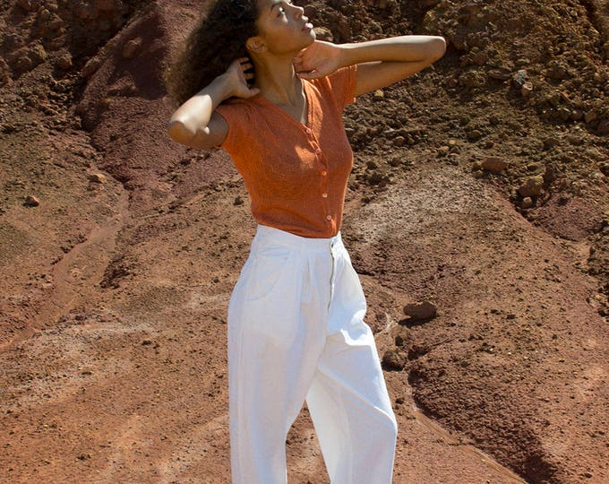 NOS Vintage 80's white pants high waist trousers