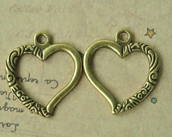 15pcs Antique Bronze Flower Love Heart Charms Double Sided 25x22mm MM793