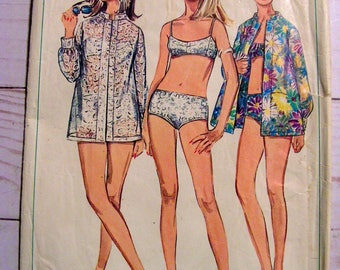 2 piece Swimsuit Bathing Suit and Shirt Coverup | Simplicity 7645 | Misses 10 bust 32.5 | cut used complete vintage 1968 sewing pattern