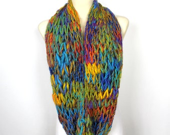 Knitting Loop Scarf : Rainbow knit scarf chunky infinity chain