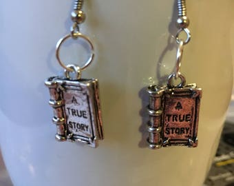 Book Earrings A True Story Book Charms