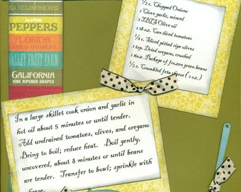 Greek Green Beans, 1 Page 8 1/2 x 11 Recipe Scrapbook Layout, Premade Scrapbook Recipe, Ready to Assemble Recipe Layout