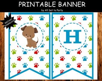 Puppy Birthday Banner, Puppy Birthday Banner, 1st Birthday Banner, Adopt A Puppy Party Decorations, Instant Download, DIY Puppy Party