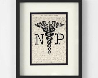 NP over Vintage Medical Book Page - Nurse Practioner, Nurse Practitioner Graduation Gift, NP Gift, NP Graduation, Nurse Practitioner Gifts