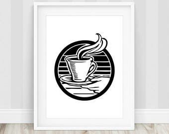 Coffee Poster - Coffee Printable, Coffee Lover Gift, Cafe Poster, Espresso Poster, Coffee Art Decor, Coffee Shop Art, Kitchen Prints