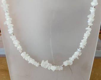 Handmade genuine Rainbow Moonstone chip & silver beaded necklace. Spiritual healing