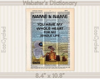 Wall-E & Eve 8 with Names and Date on Vintage Upcycled Dictionary Art Print Book Art Print Anniversary Wedding Robots Sci Fi Science Fiction