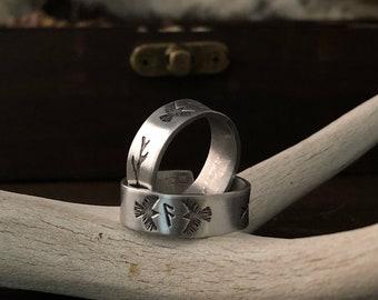 Rune Ring - Couples Ring Set - Huginn and Muninn - Viking Jewelry - Pagan Wedding Gift - Raven Jewelry - Ansuz - Runes - Spirit Animal